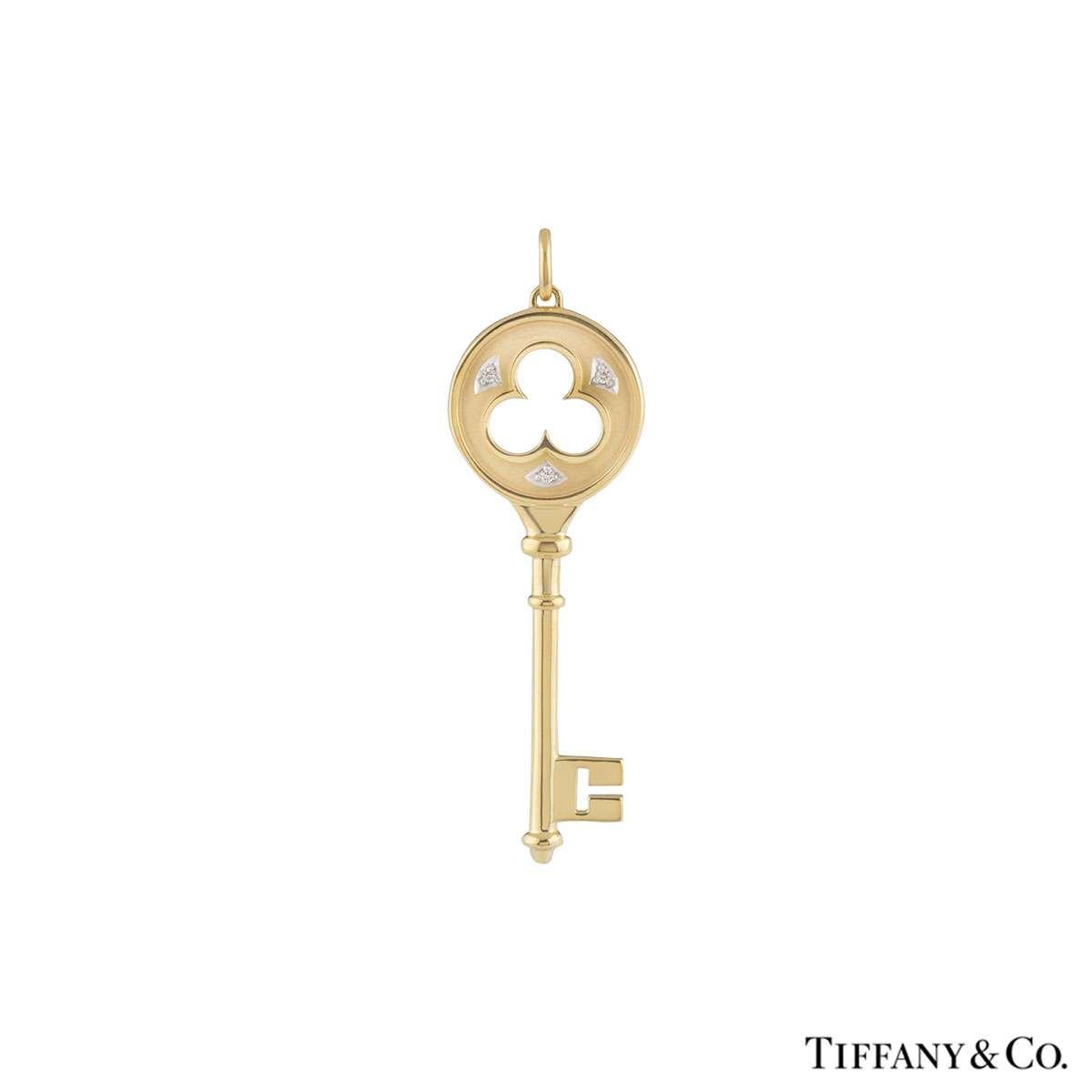 Tiffany & Co. Yellow Gold Diamond Clover Key Pendant